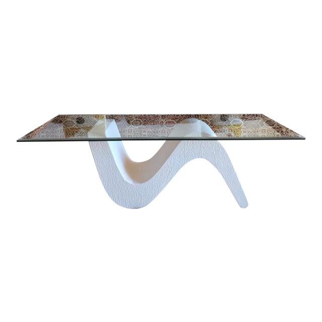 Vintage Post Modern Sculptural Plaster Wave Coffee Table For Sale