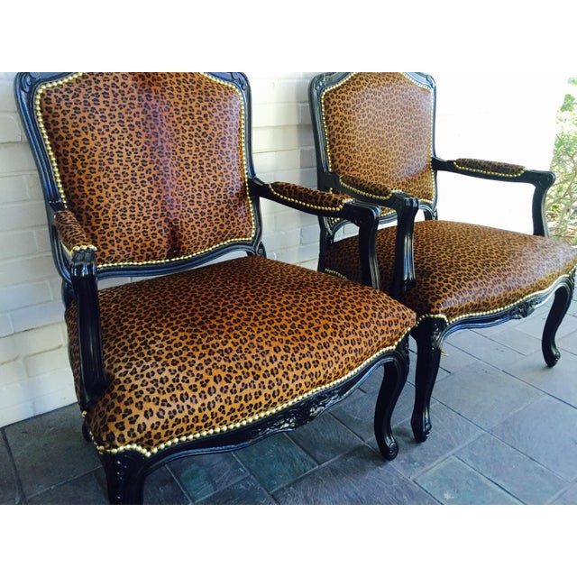 "French Black Lacquered ""Leopard"" Armchairs - Pair - Image 3 of 9"