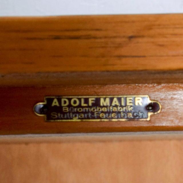 Wood Adolf Maier Blonde Bauhaus Desk Locking Tambour Doors, Germany For Sale - Image 7 of 9