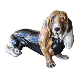 Vintage Italian Ceramic Life-Size Statue of a Basset Hound Dog