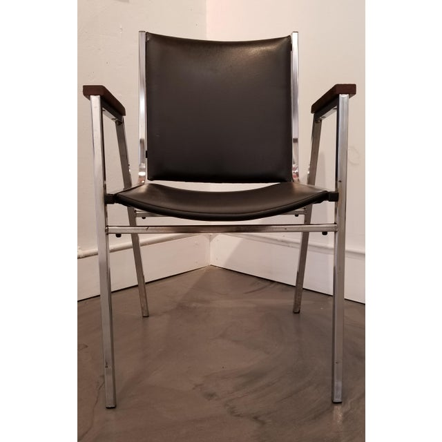 Chrome Industrial Modern Arm Chairs - a Pair For Sale - Image 9 of 12