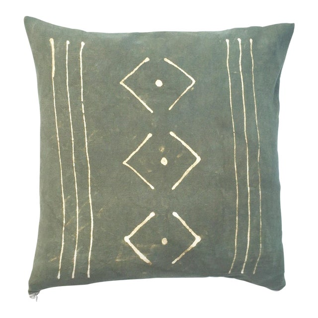 Hand-Dyed Dark Green Tribal Pillow Cover - Image 1 of 7
