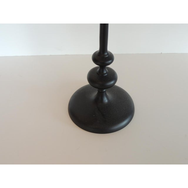 Small Round Black Metal Drinks Table With Round Base For Sale - Image 4 of 7