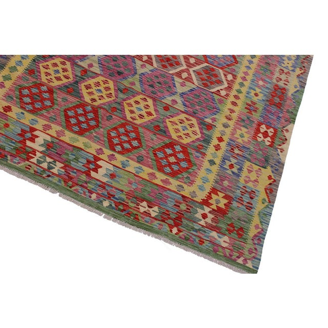 Boho Chic Bohemian Tressa Pink/Blue Hand-Woven Kilim Wool Rug - 6'10 X 9'9 For Sale - Image 3 of 8