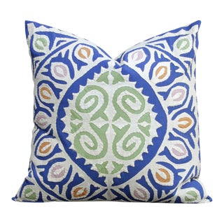Bold Blue Applique Pillow For Sale