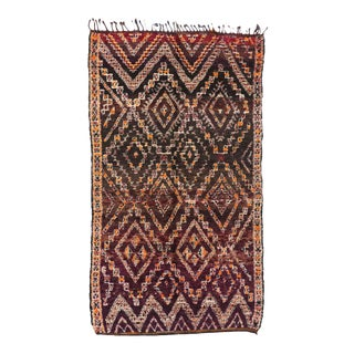 Vintage Berber Moroccan Rug with Mid-Century Modern Bohemian Style For Sale
