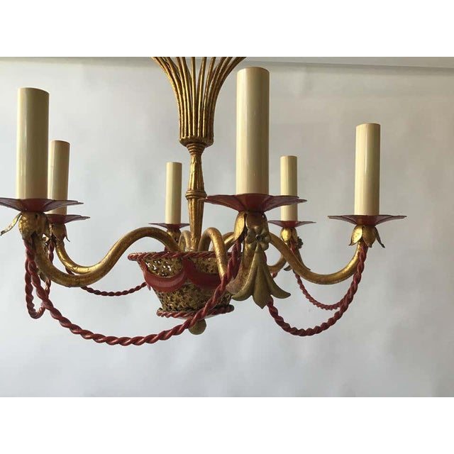 1970s Italian Gilt Iron Hot Air Balloon Chandelier For Sale - Image 9 of 11