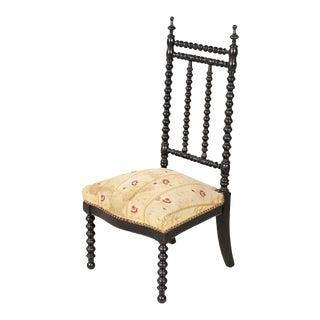 19th Century French Napoleon III Ebonized Bobbin Nursing Chair For Sale