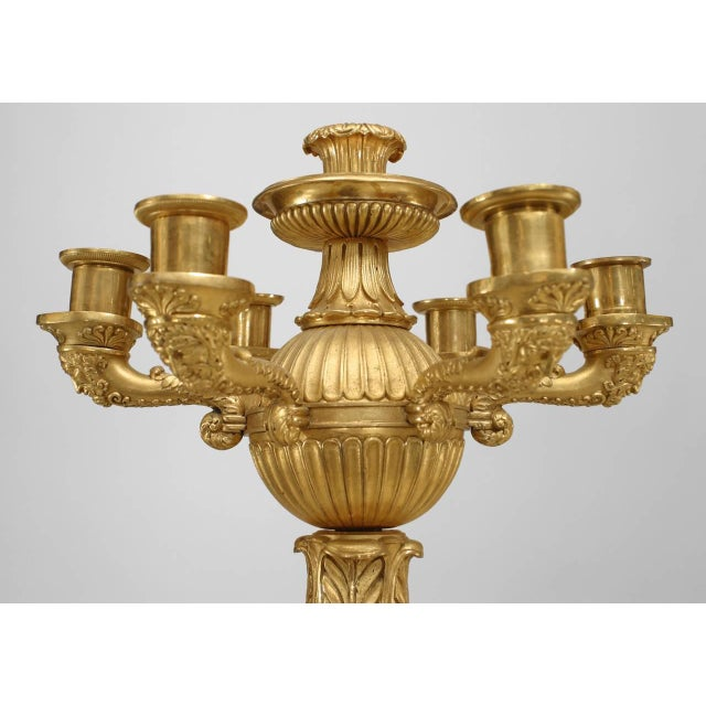 Empire Important Pair of French Empire Bronze Dore Six-Arm Candelabra For Sale - Image 3 of 9