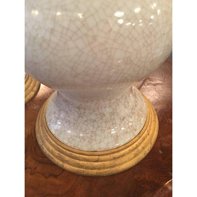 Gold Crackle Glaze Ceramic Pagoda Brass Table Lamps - a Pair For Sale - Image 8 of 11
