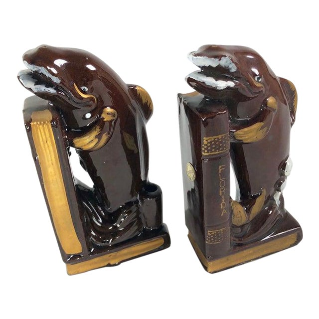 Japanese Mid-Century Whale Bookends - a Pair For Sale