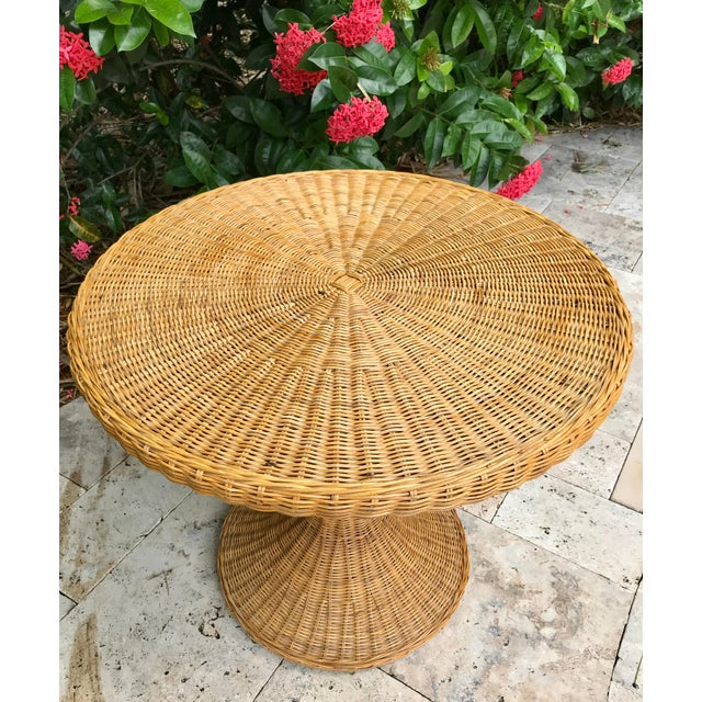 Mid 20th Century Vintage Wicker Rattan Dining Table For Sale - Image 5 of 13