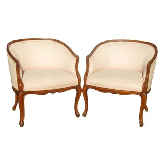 French Art Deco Style Barrel Chairs, Pair For Sale