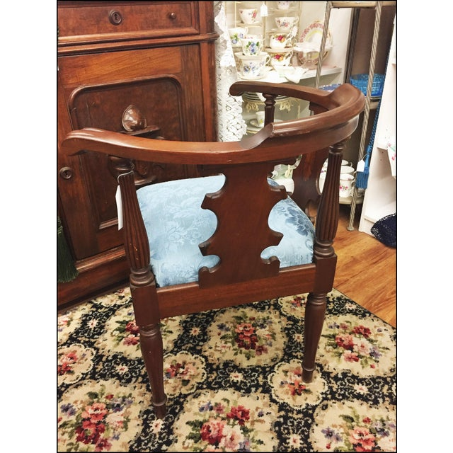 Victorian Ornate Wood Blue Corner Chair - Image 7 of 9
