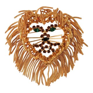 Lion Head Brooch Pin With Fringe Chain and Rhinestones For Sale