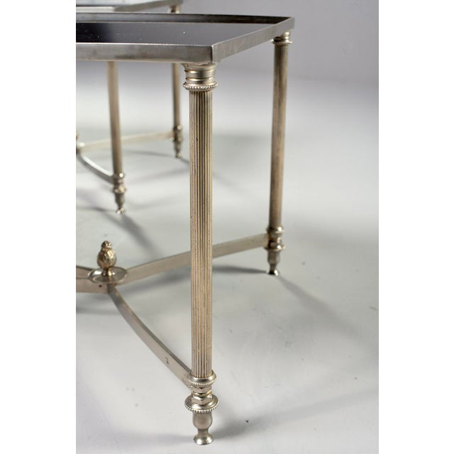 Metal French Maison Baguès Style Black Glass Top Cocktail Tables - Pair For Sale - Image 7 of 11