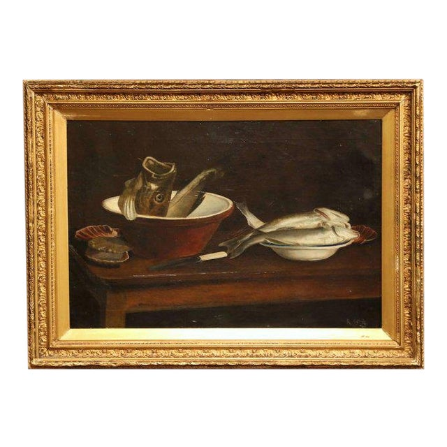 19th Century English Still Life Painting in Gilt Frame Signed and Dated 1847 For Sale
