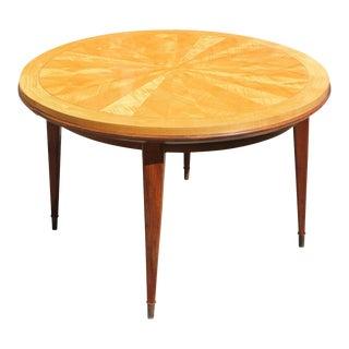 1940s Vintage Jules Leleu French Art Deco Sunburst Round Dining Table For Sale