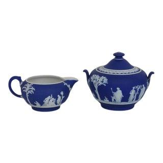 Vintage Wedgwood Blue Jasperware Greeks Milk Creamer and Sugar bowl - Set of 2 For Sale