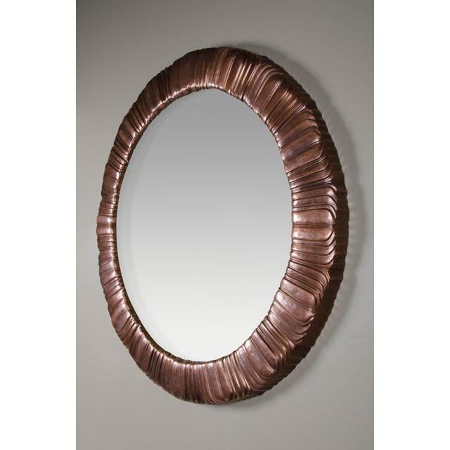 Contemporary Feather Design Round Mirror - Antique Copper For Sale - Image 3 of 6