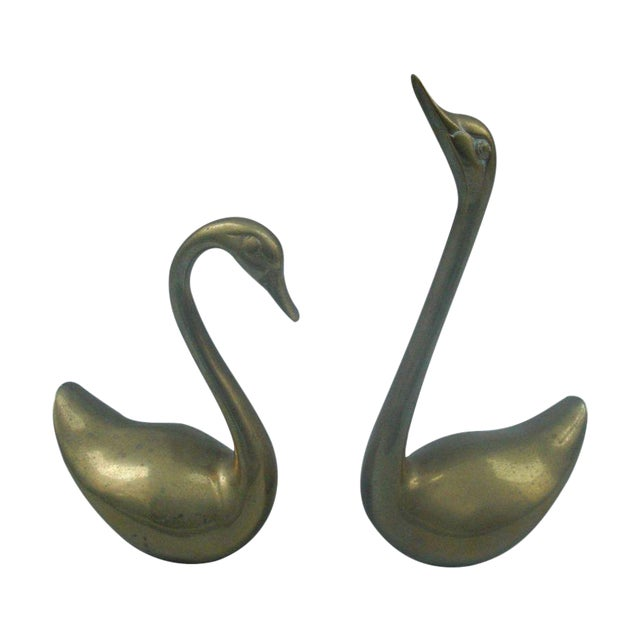 Decorative Brass Swans - A Pair - Image 1 of 4