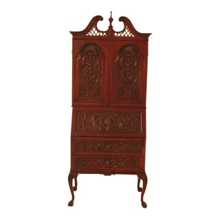 Early 20th Century Antique Chippendale Style Carved Mahogany Secretary Desk For Sale