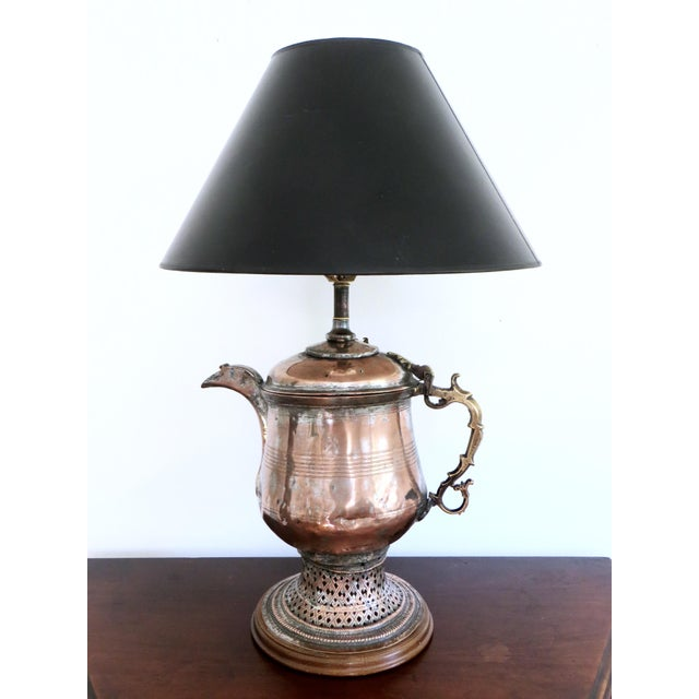 Boho Copper Brass Teapot Table Lamp Moroccan Or Indian Style
