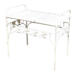 1940s-50s White Iron/Wicker Leaf Stool or Side Table For Sale