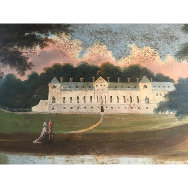 Beautifully and skillfully executed, this hand painted scenic tole tray shows an idyllic afternoon at the country house of...