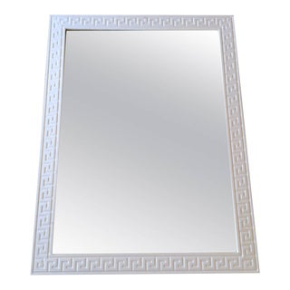 Vintage White Wood Greek Key Mirror For Sale