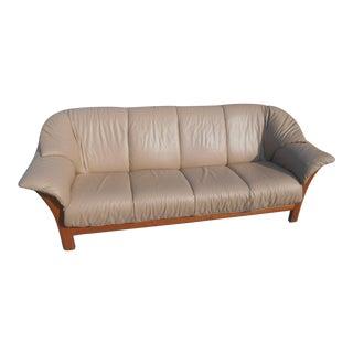 "Ekornes Stressless 4-Seat ""Oslo"" Fixed Back Leather Sofa For Sale"