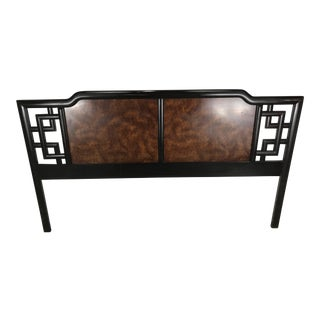 Asian Modern Burl & Lacquer King Headboard For Sale