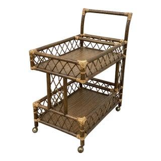 Vintage Coastal Mid-Century Modern Rattan Bar Cart For Sale