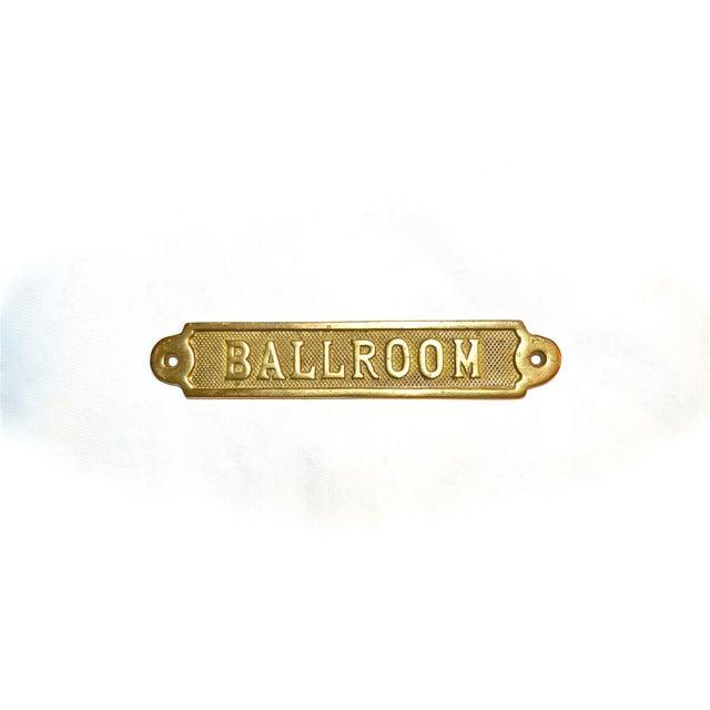 Gold Vintage Ballroom Brass Plaque For Sale - Image 8 of 9