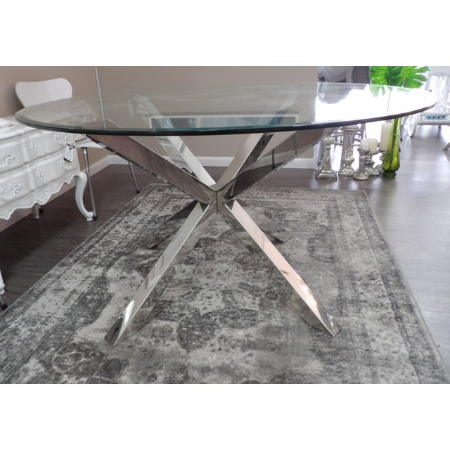 1990s Modern Polished Chrome Based Glass Topped Dining Table For Sale - Image 5 of 7
