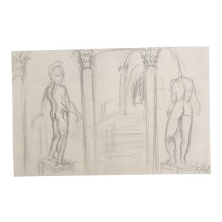 1981 European Building With Male Nudes Drawing For Sale