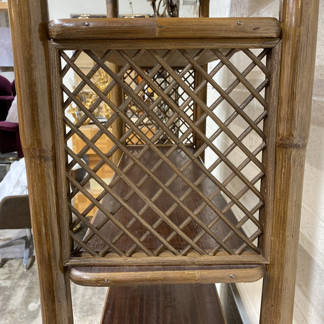 Walnut and Wicker Pagoda Etageres Cabinet For Sale In Richmond - Image 6 of 13