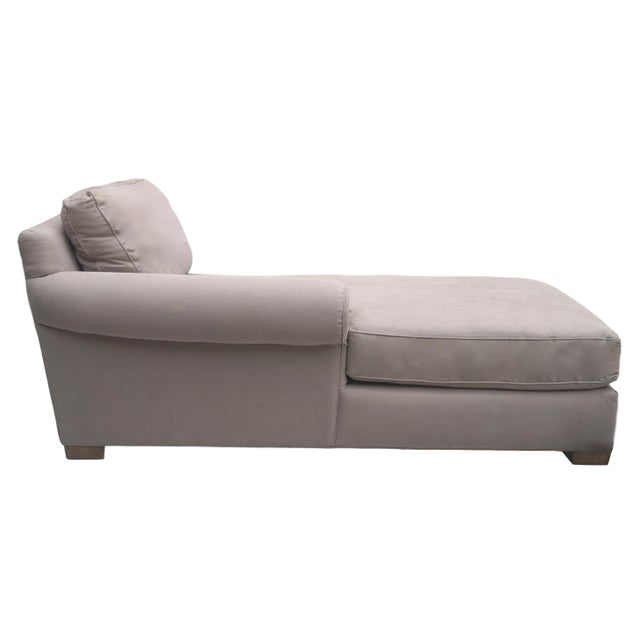 Restoration Hardware right arm chaise upholstered in a taupe cotton twill. This piece features a slightly bowed, rolled...