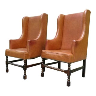 Vintage Barley Twist Tall Wingback Chairs - a Pair