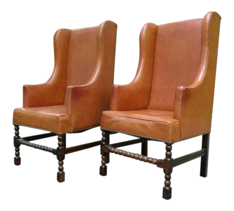 Vintage Barley Twist Tall Wingback Chairs   A Pair