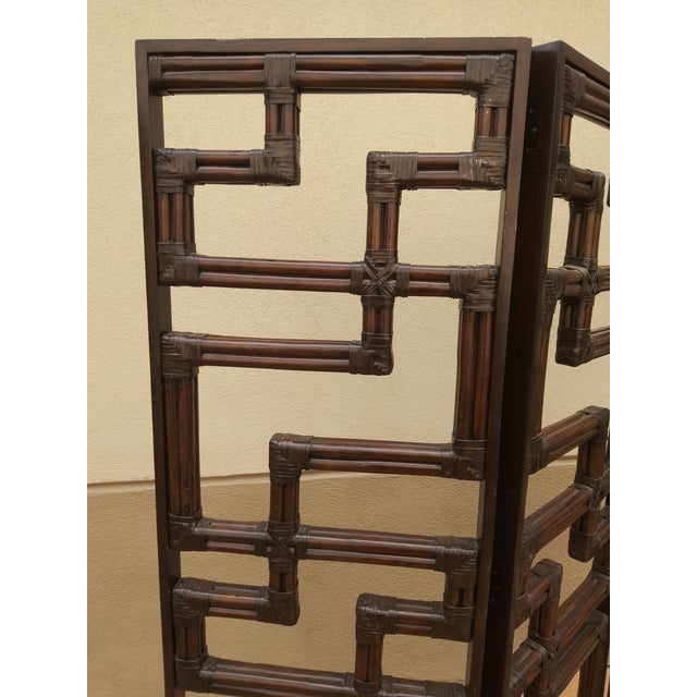 Late 20th Century Bundled Reed Rattan Chinese Chippendale Room Divider For Sale - Image 5 of 10