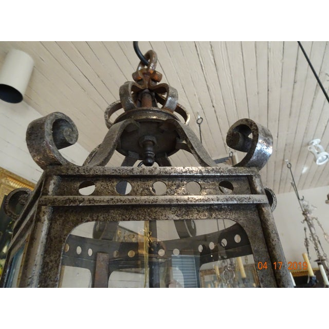 French Vintage Iron Lantern For Sale In New Orleans - Image 6 of 12