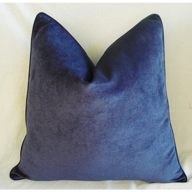 Large Designer Midnight Blue Velvet Feather/Down Pillows - Pair For Sale - Image 4 of 10