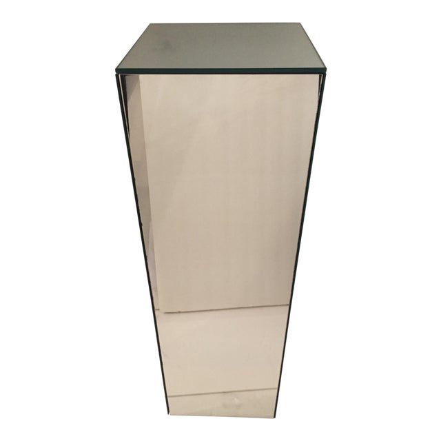 Vintage Tall Mirrored Pedestal For Sale
