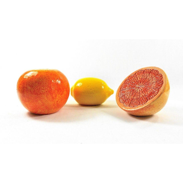 Grapefruit, Orange & Lemon Ceramic Fruit - Set of 3 For Sale - Image 11 of 13