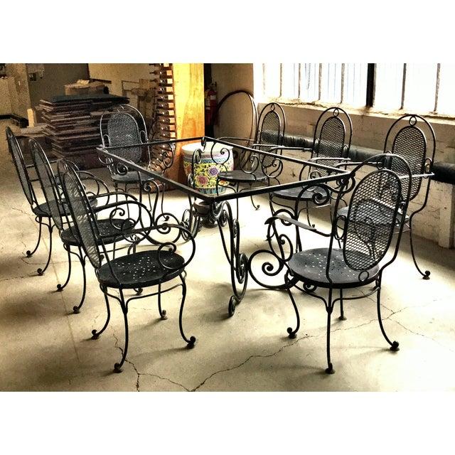 Art Nouveau 1900s Art Nouveau Indoor and Outdoor Iron Dining Set - 9 Pieces For Sale - Image 3 of 11