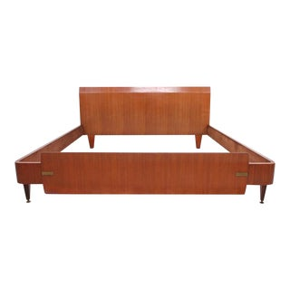 Mid Century Modern Dassi Bedframe With Brass Detail For Sale