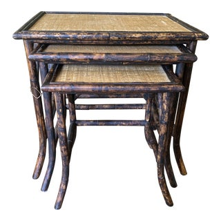 Vintage Tortoise Shell Burnt Bamboo Rattan and Grasscloth Nesting Tables - Set of 3 For Sale