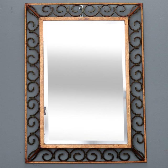 Glass Art Deco Gilt Iron Framed Rectangular Mirror For Sale - Image 7 of 7