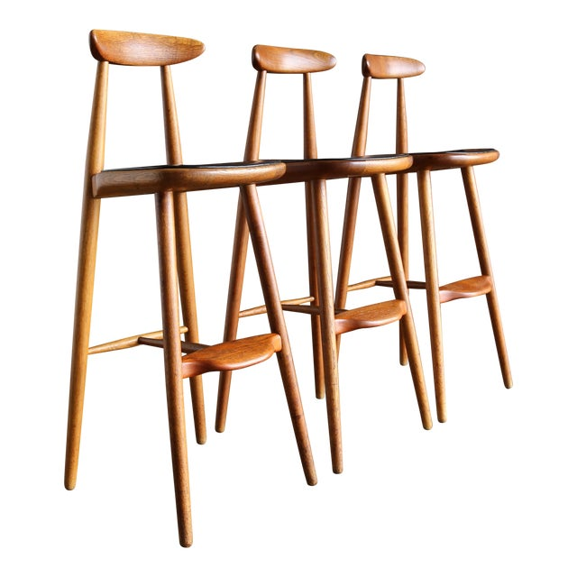 Vilhelm Wohlert for Stolefabriken Odense Danish Stools- Set of 3 For Sale